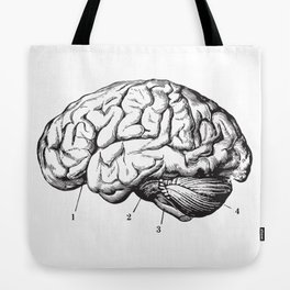 Human Brain Sideview Anatomy Detailed Illustration Tote Bag