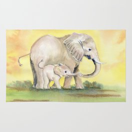 Colorful Mom and Baby Elephant 2 Rug