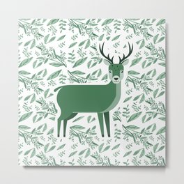 Deer in green floral pattern Metal Print