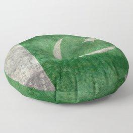 Flag of Pakistan, grungy retro style Floor Pillow