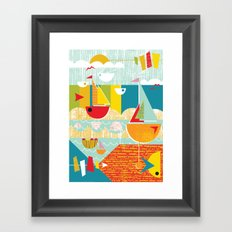 Atomic Mid Century Modern Boats Placement Print Framed Art Print