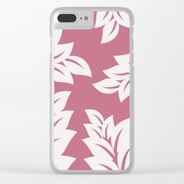tropical pink leaves Clear iPhone Case