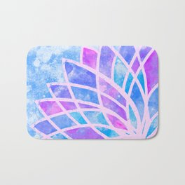 Blue Stained Glass Lotus Bath Mat