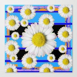 Blue Shasta Daisy's Black Color Art Canvas Print