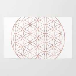 Mandala Rose Gold Flower of Life Rug