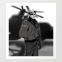 hetalia Art Prints featuring hetalia pilot America by Hellacrappy