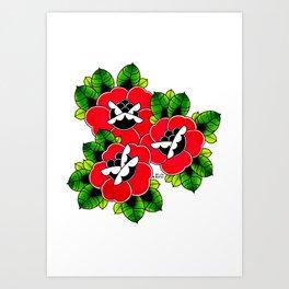Traditional Tattoo Roses Art Print
