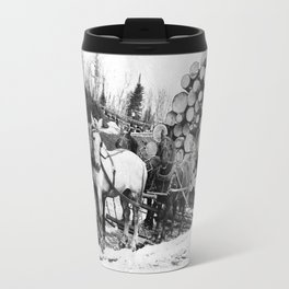 Horses pulling sledge loaded with logs Travel Mug