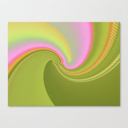 Pink and Green Curves Fractal Abstract Art Canvas Print