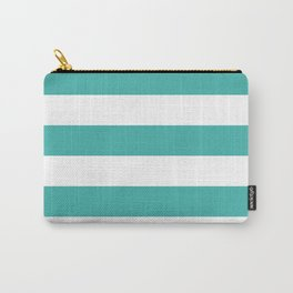 Horizontal Stripes - White and Verdigris Carry-All Pouch