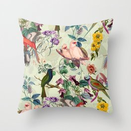 Floral and Birds VIII Throw Pillow