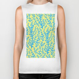 Yellow and Blue Floral Leaves Gouache Pattern Biker Tank
