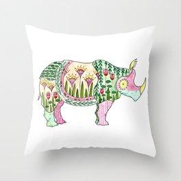 Floral Pattern Rhino Throw Pillow