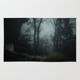 Fog in the woods Rug