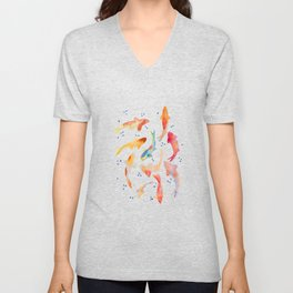 Watercolored Koi Pond Unisex V-Neck