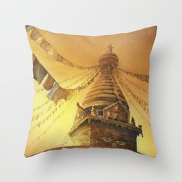 Prayer flags at Boudhannath Buddhist stupa in the Throw Pillow