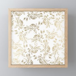 Vintage white faux gold roses floral Framed Mini Art Print