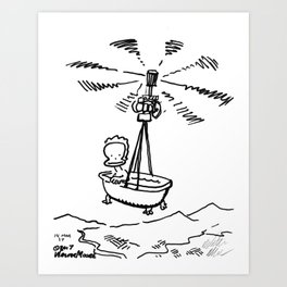 Baby Ape in the Bath-Copter Art Print