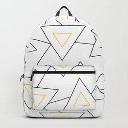 Modern Geometric Charcoal Gray & Yellow Triangle Scatter Pattern Backpack
