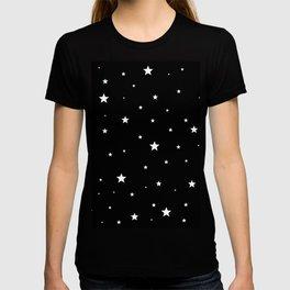 Scattered Stars - white on black T-shirt