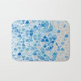 Cubes & Diamonds in Blue & Grey  Bath Mat