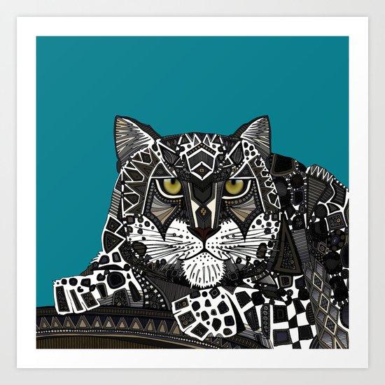 snow leopard teal Art Print