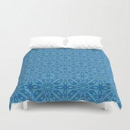 Blue Faux Leather Texture Geometric Pattern Duvet Cover