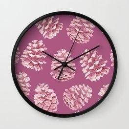 Blushing Deep Pine Cones Wall Clock