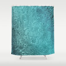 Detailed zentangle square, blue colorway Shower Curtain