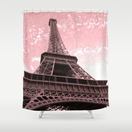 Paris Pink Eiffel Tower Shower Curtain