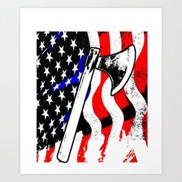 Firefighter American Flag Fire Ax Department Gift Art Print