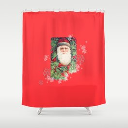 SANTA CLAUS with Stainled Glass effect Shower Curtain
