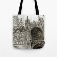 takmaj Tote Bags featuring Rouen facade by takmaj