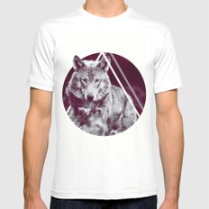 WOLF I White Mens Fitted Tee MEDIUM