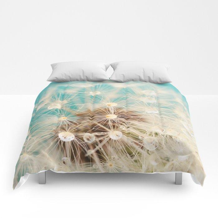 dandelion with waterdrops Comforters
