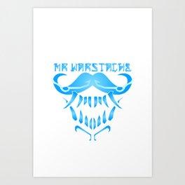 Mr. WarStache M.0 (B/White) Art Print