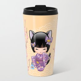 Japanese Neko Kokeshi Doll V2 Travel Mug