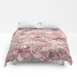 Rose Gold Blush Glitter Ombre Mermaid Scales Pattern Comforters
