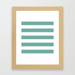 Green Sheen - solid color - white stripes pattern Framed Art Print