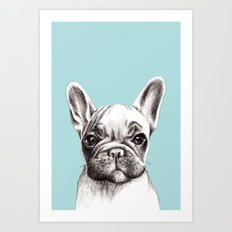 French bulldog in turquoise Art Print