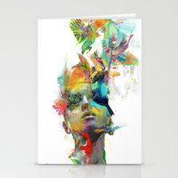 wall clock Stationery Cards featuring Dream Theory by Archan Nair