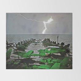 Lightning Strikes - USS Abraham Lincoln Throw Blanket