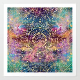 Gold watercolor and nebula mandala Art Print