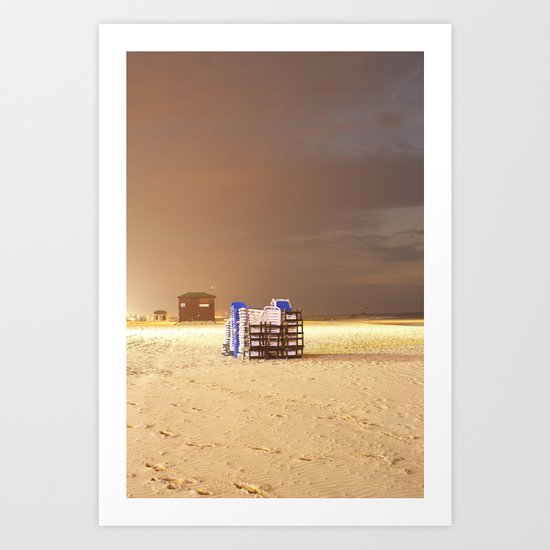 recliners on the beach Art Print
