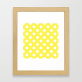 Lemon yellow - yellow - White Polka Dots - Pois Pattern Framed Art Print
