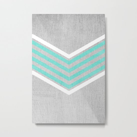 Teal and White Chevron on Silver Grey Wood Metal Print
