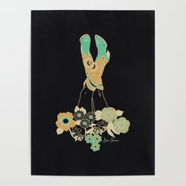 Love Stoned Cowboy Boots - Emerald, Cream, Black Poster