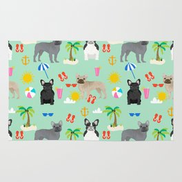 French Bulldog summer beach dog breed gifts frenchies pet portrait tropical palm trees Rug
