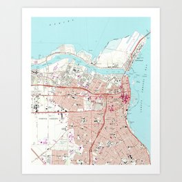 Vintage Map of Corpus Christi Texas (1968) Art Print