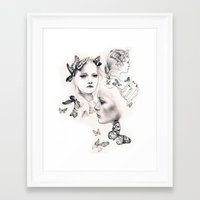 gemma correll Framed Art Prints featuring Gemma Ward by KatePowellArt
